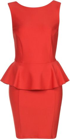 Peplum Scuba Pencil Dress - Generally, I don't care for sleeveless pencil dresses but it's red so I can't complain.