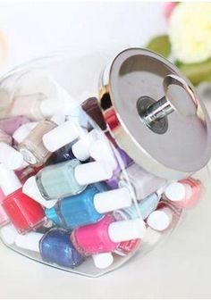 Put nail polish in a cookie jar for easy access (and pretty #homedecor!)