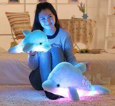 Kawaii cartoon dolphins luminous hold pillow