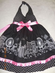 TODDLER DRESS LONDON PARIS PRINT HALTER SUN DRESS SIZE 2T BLUE AND PINK #BLUEBERIBLVD