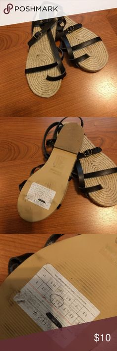 Size 9 Ralph Lauren Black Leather Sandals *WORN TWICE*
