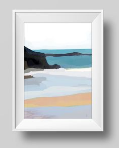 Printable Abstract Art, Beach Painting, Digital Download, Sea colours, modern wall art, hand painted acrylic print, sea, marine colours