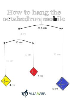 If you are interesting in making your own octahedron mobile, here is a diagram showing how to hang it straight. Montessori Bedroom, Montessori Toddler, Maria Montessori, Montessori Activities, Infant Activities, Baby Gym, Baby Play, La Petite Taupe, Hanging Mobile