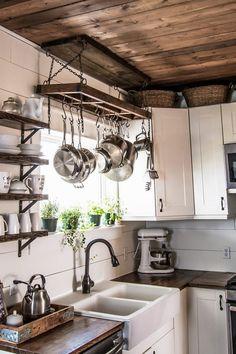 Farmhouse Pot Racks, Farmhouse Sink Kitchen, Rustic Farmhouse, Farmhouse Small, Farmhouse Chairs, Kitchen Cabinets, Kitchen Wood, Industrial Farmhouse, Farmhouse Ideas