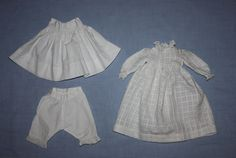 Three Piece Dress, Slip, Bloomers Bisque dolls Early 1900s