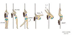 the comic striptease | step-by-step pole dancing comics by Lila Ash
