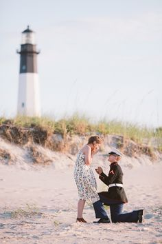 Swooning over the way this Marine proposed by a lighthouse!