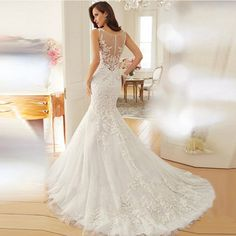 Sexy Elegant Princess Bride Perspective Lace Backless Chapel Train Mermaid Wedding Dress
