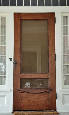 Wish I knew where to get this screen door. Perfect to keep the kitties from reaching up and clawing at the screen!
