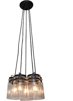 Agar 5 Light Glass Pendant, Industrial & Retro Lighting, New Zealand's Leading Online Lighting Store