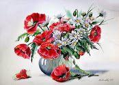 cuadros de flores pintados con acuarelas