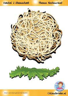Voedsel 2 themahoek, hoort bij de bestellijst, thema restaurant, juf Petra van kleuteridee, Restaurant role play,food,  free printable