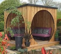 Garden, Contemporary Gazebo Design With Unusual Shape Add With Lounge Chairs Purple Colored Plus Some Cozy Cushions Beautify Luxury Home Garden Design: Various Gazebo Design That Can Apply in Garden Garden Buildings, Garden Structures, Home Garden Design, Home And Garden, Small Gardens, Outdoor Gardens, Garden Pods, Small Garden Pod, Diy Shed Plans