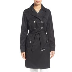 Women's Laundry By Shelli Segal Double Breasted Trench Coat ($69) ❤ liked on Polyvore featuring outerwear, coats, black, double-breasted trench coat, tie belt, trench coats, double breasted coat and flare trench coats