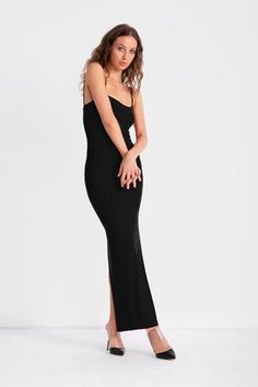 Doublelayered jersey dress with spaghetti straps and a centre back slit. Wear this on its... Formal Looks, Mesh Dress, Spaghetti Straps, Centre, Black And Grey, Ready To Wear, Mom, Formal Dresses, How To Wear