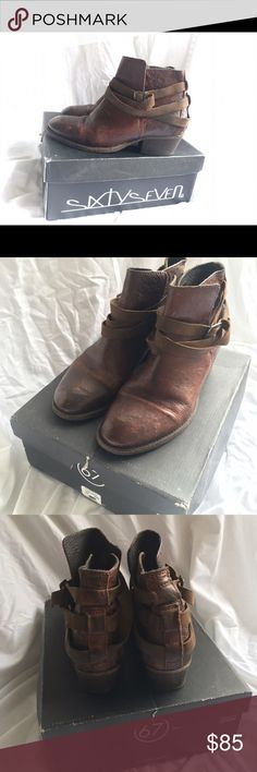 Spanish Label Sixty Seven Spanish Leather Booties Amazing brown leather booties in size 38EU/7.5 US.  Worn three times, has the lived in look from its quality leather.  Made in Spain from the label Sixty Seven.  Bought from Anthropologie for $258 Anthropologie Shoes Ankle Boots & Booties