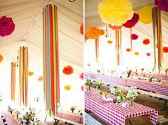 Amazing crepe paper chandeliers