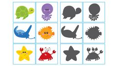 Today for our free printable, we have a newly designed ocean themed shadow match game for your little ones to enjoy. You can find this game and lots more in our Sea Activities, Animal Activities, Preschool Activities, Daycare Themes, School Themes, File Folder Activities, Ocean Unit, Under The Sea Theme, Ocean Crafts