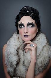 From the make-up look to the trendy dark lipstick - From the . - From the make-up look to the trendy dark lipstick – From the make-up to the trendy da - 1920 Makeup, Flapper Makeup, Makeup Art, Beauty Makeup, Eye Makeup, 1920s Makeup Gatsby, Roaring 20s Makeup, Art Deco Makeup, 1920s Inspired Makeup