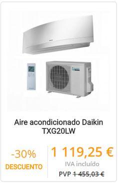 AIRE ACONDICIONADO DAIKIN TXG20LW  Aire acondicionado split 1x1 Daikin TXG20LW con potencia frigorífica de 1.978 kcal y calorífica de 2.150 kcal. Control wifi incluido. Programación semanal. Sensor de presencia humana. Tecnología replacement.