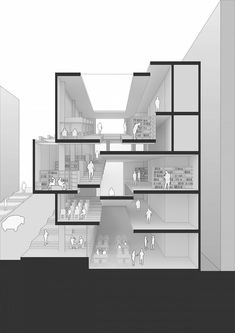 Sections Architecture, Concept Board Architecture, Architecture Drawing Plan, Stairs Architecture, Architecture Graphics, School Architecture, Sectional Perspective, University Architecture, Hospital Design