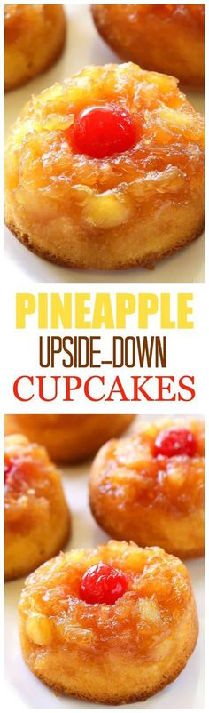 Pineapple Upside Down Cupcakes - a mini version of your favorite cake with butter, brown sugar, pineapple, and a cherry on top! the-girl-who-ate- Köstliche Desserts, Delicious Desserts, Yummy Food, Camping Desserts, Cupcake Recipes, Cupcake Cakes, Dessert Recipes, Yellow Cake Cupcakes, Butter Cupcakes