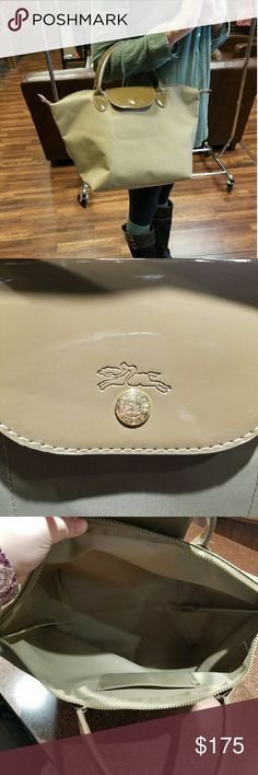 "Tan Longchamp Le Filage Le Filage Type ""M"" L Modele Depose  Gold Hardware 10 inches tall Bottom 7 inches wide 16 inches side to side  Small Pin mark on the right side near the top.  Small discoloration on the bottom see picture 4. Longchamp Bags Totes"