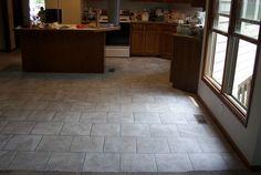 Brick pattern kitchen floor