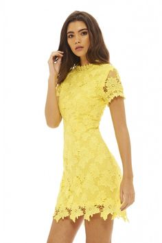 Yellow Cocktail Dress Lace | fashjourney.com