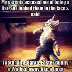 """""""Tooth fairy, Santa, Easter bunny"""" and walk away like a boss. 
