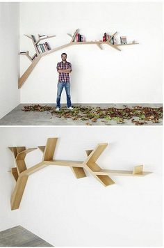 Love it. I think I'll try it. WOuld be great to do family pictures as leaves Woodworking Projects Diy, Joinery, Clothes Hanger, Floating Shelves, Bookshelves, Tree Branches, Kids Room, Grandchildren, Nursery Ideas