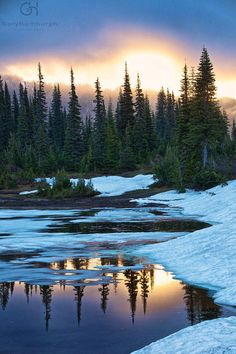"""Summer Snow surrounds Reflection Lake""- was taken in June at Mt. Rainier National Park-   Photo Credit- Gary Hamburgh"