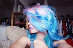 blue and pink hair, hair, pastel hair