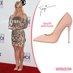 f5d6b3870047 Britney Spears in Giuseppe Zanotti Nude Patent Leather Pointed-Toe Pumps -  ShoeRazzi