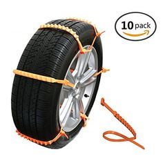 MeiBoAll 10 PCS Protable Emergency Traction Aid Anti-Slip Chain Go Cleated Tire Traction Snow Ice Mud for Universal Car SUV Van Truck  lightweight, easy to carry and storage  Anti-slip, Keep your safe when your car stuck in mud, snow or ice in bad weather conditions  Each zip length 88 cm,Can be used 10-22 Inches Cars, SUV's, Trucks lightweight, easy to carry and storage  easy to install, Chain tightly tires, leaving no gap, ensure your safe  10 pcs clips in the one package. Due to whe...