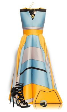 """Dramatic Striped Dress"" by daiscat ❤ liked on Polyvore featuring Roksanda, Feather.M, Jimmy Choo, Alexis Bittar and Lara Bohinc"