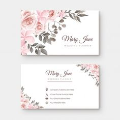 Vintage Business Card With Folwer Decoration Dental Business Cards, Makeup Business Cards, Vintage Business Cards, Business Card Design, Web Design, Flower Circle, Event Organiser, Beauty Logo, Calling Cards