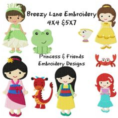 Princess Design Set 3 4X4 and 5X7: Breezy Lane Embroidery