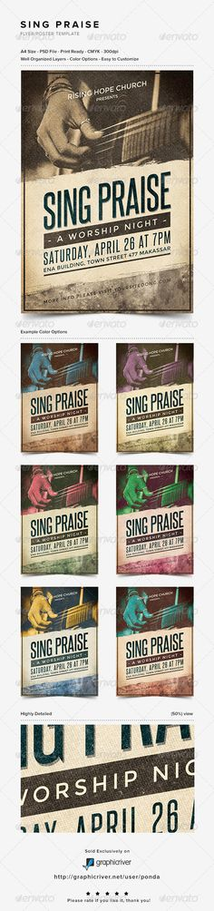 Buy Sing Praise Flyer/Poster Template by JunPonda on GraphicRiver. Sing Praise Flyer/Poster Template is a unique photoshop flyer/poster template. It can be used for praise and worship . Worship Night, Praise And Worship, Worship Leader, Flyer Poster, Concert Flyer, Church Music, Church Design, Print Templates, Design Reference