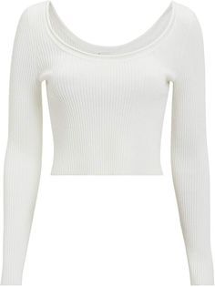 3.1 Phillip Lim White Ribbed Crop Top White Outfits, Casual Outfits, Fashion Outfits, Fashion Clothes, Fashion Ideas, Long Sleeve Crop Top, White Long Sleeve, Ribbed Crop Top, Vintage Pants