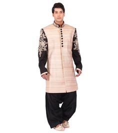 A perfect mix of traditional as well as modern, the creations of Study By Janak aim to embody the man of today. Wedding Sherwani, Embroidered Silk, Indian Ethnic, Study, Beige, Shirt Dress, Coat, Mens Tops, Shirts