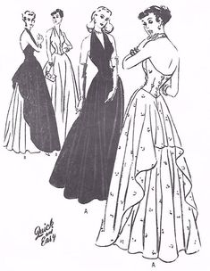 """Vintage 1940's Sewing Pattern WWII WW2 Evening Halter Neck Dance Gown Dress Draped B 34"""" by VintageSewBeeIt on Etsy https://www.etsy.com/au/listing/526170343/vintage-1940s-sewing-pattern-wwii-ww2"""