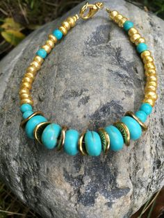 Turquoise and Gold Bracelet Turquoise by ClayNmetalConnection