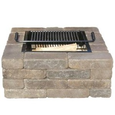24 in. Square Fire Pit Kit with Chesapeake Blend Rumbled at The Home Depot Patio Fence, Back Patio, Backyard Patio, Backyard Projects, Outdoor Projects, Backyard Ideas, Square Fire Pit, Outdoor Fun, Outdoor Spaces