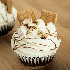 Get your kitchen torches out! Toasted Marshmallow S'more Cupcakes