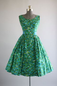Vintage 1950s Dress / 50s Party Dress / Turquoise and Green Floral Watercolor Print Dress w/ Beading M