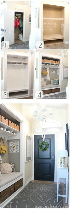 Converting Unused Closet into a Custom Mudroom Nook! Don't need to convert closet but this is what I want for Mudroom built ins. Entry Closet, Closet Bedroom, Front Closet, Closet Nook, Closet Redo, Closet Paint, Playroom Closet, Ikea Closet, Closet Office