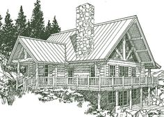 small one story Log homes | Log Home Plans
