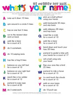 Spell Your Name Workout – What's Your Name? Fitness Activity Printable for Kids Spell Your Name Workout – What's Your Name? Fitness Activity Printable for Kids,Geburtstagsparty Ideen What's your name? Fitness activity for kids. Fitness Activities, Toddler Activities, Fun Activities, Movement Activities, Gross Motor Activities, Listening Activities For Kids, Icebreaker Games For Kids, Icebreakers For Kids, Physical Education Activities