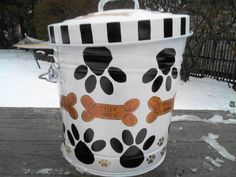 6 Gallon Hand Painted Galvanized Can by krystasinthepointe on Etsy, $49.00